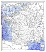 Topographical Map of the Ports of France, vintage engraving — Стоковое фото