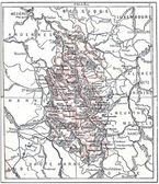 Topographical Map of Meuse in Lorraine, France, vintage engravin — Stock Photo