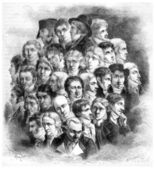Group of artists, by Boilly, vintage engraving. — Stock Photo