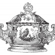 Tureen, a serving dish for food, vintage engraving. — Stock Vector
