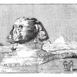 Sphinx, near the ruins of Memphis, Egypt, vintage engraving. - Stock Vector