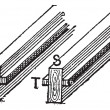 Vecteur: Cleat (T) and joist (S) vintage engraving