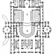 Plan of theater of opera, Paris, vintage engraving. - Stock Vector