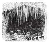 Stalactite in cave, vintage engraving. — Stock Vector