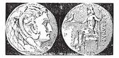 Tetradrachm, vintage engraving. — Stock Vector