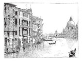 View of the Grand Canal, Venice, vintage engraving. — Stock Vector