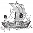 Chinese junk, an ancient sailing vessel, vintage engraving. — Stock Vector #13671017
