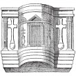 Pulpit of the Cathedral of Ravenna, vintage engraving. — Stockvektor