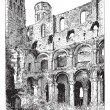 Stock Vector: Ruins of Abbey of Jumieges, vintage engraving.