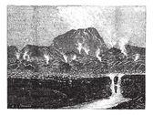 El Jorullo, a cinder cone volcano, vintage engraving. — Stock Vector