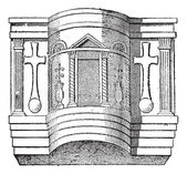 Pulpit of the Cathedral of Ravenna, vintage engraving. — Stock Vector