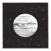 Aspect of Jupiter in December 1885 with a satellite passing the — Stock Vector