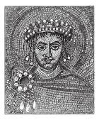 Justinian mosaic, vintage engraving. — Stock Vector