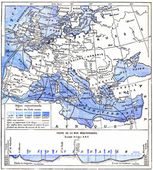 Map of the Mediterranean Sea and Other Waters of Europe, vintage — Stock Photo