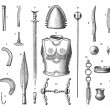 French Armor and Weapons During the Younger Bronze Age, vintage — Stock Vector