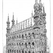 Stock Vector: Leuven town hall, vintage engraving.