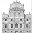 Stock Vector: Louvre Palace, vintage engraving.