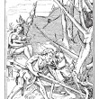 Artwork of Adam and Death Working the Land, vintage engraving - Stock Vector