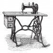Vecteur: Foot-powered Sewing Machine, vintage engraving