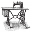 Vector de stock : Foot-powered Sewing Machine, vintage engraving