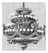 Chandelier of the Opera of Paris, vintage engraving. — Stock Vector