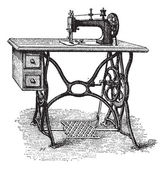Foot-powered Sewing Machine, vintage engraving — Vector de stock
