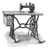 Pie-powered máquina de coser, vintage grabado — Vector de stock