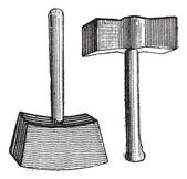 Lump Hammer, vintage engraving — Stock Vector