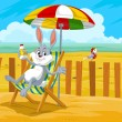 Rabbit at the Beach, illustration — Stock Vector