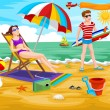 Couple at the Beach, illustration — Stock Vector