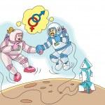 astronauti in amore, illustrazione — Vettoriale Stock