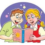Children studying, illustration — Stock Vector #16187743