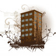 Brown building, illustration — Imagen vectorial