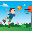 Boy Playing Basketball, illustration — Stock Vector