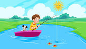 Lake Fishing, illustration — Stock Vector