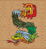Mayan dragon, illustration — Vector de stock