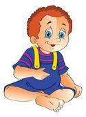 Baby Boy Sitting on the Floor, illustration — Stock Vector