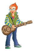 Male Guitarist, illustration — Stock Vector