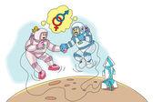 Astronauts in Love, illustration — Stock Vector