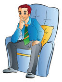 Man Sitting on a Soft Chair, illustration — Stock Vector