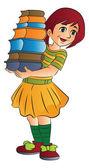 Girl Carrying Books, illustration — Stock Vector