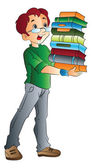 Man Carrying Books, illustration — Stock Vector