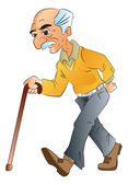 Old Man Walking, illlustration — Stock Vector