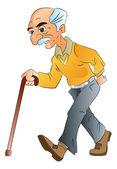 Yaşlı adam yürüme, illlustration — Stok Vektör