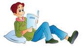Man Reading a Book, illustration — Stock Vector