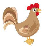 Cute brown cock, illustration — Stock Vector