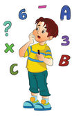 Boy Solving a Math Problem, illustration — Stock Vector
