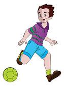 Boy Playing Soccer, illustration — Stock Vector