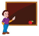 Man Using a Chalkboard, illustration — Stock Vector