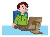 Boy Using a Desktop Computer, illustration — Stock Vector